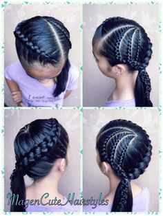 Dutch Lace Braid/Dutch Braid Combo💕 Girls Natural Hairstyles, Kids Braided Hairstyles, African Braids Hairstyles, Little Girl Hairstyles, Up Hairstyles, Braided Updo, Wedding Hairstyles, Cool Braids, Braids For Short Hair