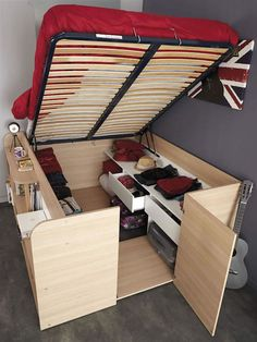 Space-Saving Bed Unit For Small Bedrooms Opens Up To Reveal Wardrobe Area…