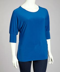 Take a look at this Royal Blue Scoop Neck Top - Plus by Avital on #zulily today!