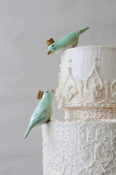 Mint Green Lovebirds with Crowns  Custom Birds by CherryRedToppers, $60.00