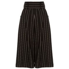 J.W.Anderson Striped pleat-front culottes ($681) ❤ liked on Polyvore featuring pants, capris, skirts, bottoms, culottes, trousers, black white, wide leg pants, white and black striped pants and striped trousers