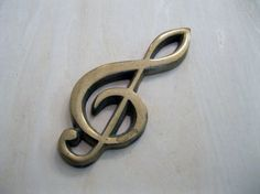 Vintage Brass Clef Note Paperweight by Suite22 on Etsy, $12.00