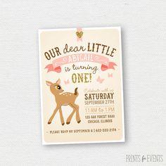 Glitter Deer Birthday Invitation - First Birthday Invitation, Woodland, Girl Birthday Invitation by PrintsForEvents on Etsy https://www.etsy.com/listing/199698467/glitter-deer-birthday-invitation-first