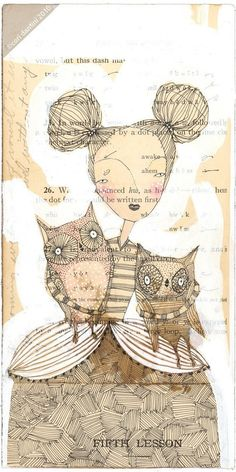 whimsical painting of a girl holding owls portrait ink by corid