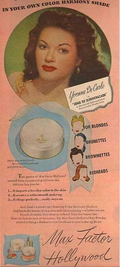 vintage beauty ads with celebrities | Max Factor Hollywood Cosmetics – Yvonne De Carlo (1947)