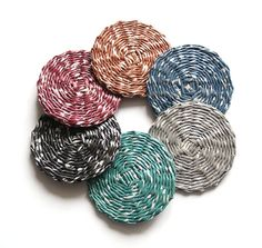 Set of 6 colorful recycled paper coasters * BluReco