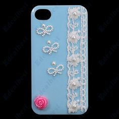 $7.63 Free shipping Cute 3D Diamond Flower Case Cover For iphone 4s 4 Edealbest.com