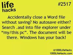 "Life Hacks) Accidentally close a Word file without saving?asd into file explorer under ""my/this pc"".Accidentally close a Word file without saving?asd into file explorer under ""my/this pc"". 100 Life Hacks, Simple Life Hacks, Useful Life Hacks, Back To School Life Hacks, Life Tips, Things To Know, Good Things, Computer Help, Computer Tips"