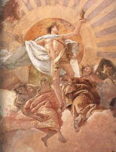 Ceiling fresco in the staircase of the Würzburg Residenz, detail: the sun god Apollo in the fresco 'Apollo and the continents' by Giovanni Battista Tiepolo