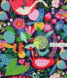 orange you lucky illustration Folk Art Flowers, Flower Art, Magic Room, Scandinavian Folk Art, Plant Art, Design Graphique, Surface Pattern Design, Graphic Illustration, Collage Art