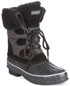 Khombu Corrine Herringbone Faux-Fur Cold Weather Boots - Winter & Rain Boots - Shoes - Macy's