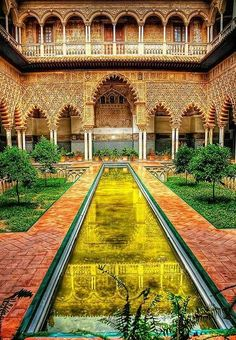 Courtyard in the Alcazar - Seville, Spain.