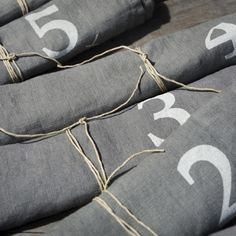 Numbered rolled table napkins DIY home decor