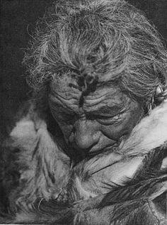 Makoyepuk (Wolf-Child) - Blood (Blackfoot) - By Edward S. Curtis - 1926. (B&W version)