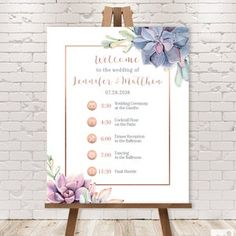 Wedding Timeline Sign / Wedding Itinerary Agenda Icons / | Etsy Wedding Reception Schedule, Wedding Day Timeline, Text Signs, Forest Design, Custom Fonts, Monogram Initials, Special Day, Create Yourself, Printable