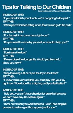 tips for talking to kids this is a great way of different ideas when disciplining your children . I pin kids things for parents with children that see and read my pins Gentle Parenting, Kids And Parenting, Parenting Hacks, Peaceful Parenting, Parenting Quotes, Mindful Parenting, Parenting Styles, Conscious Discipline, Positive Discipline