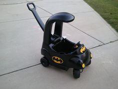 Little Tikes car transformed into the Batmobile