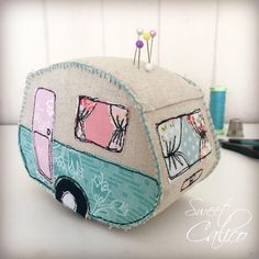 Vintage caravan camper pincushion pattern, freemotion embroidery and hand stitching, appliqué by SweetCalicoStudio on Etsy