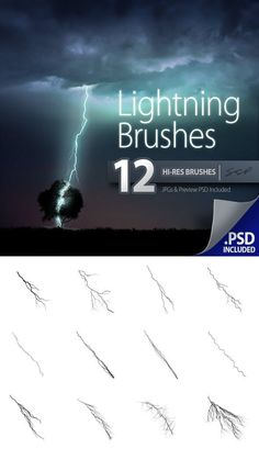 Buy 12 Hi-Res Lightning Brushes by SPetrany on GraphicRiver. 12 Hi-res Brushes of different lightning strikes. Great for storms, electricity, energy effects, and other special ef. Photoshop Tips, Photoshop Brushes, Lightning Strikes, Thunderstorms, Diy Cards, Photo Editing, Ads, Graphic Design, Adobe Photography