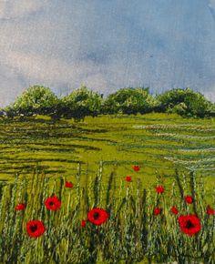 Poppy field machine embroidery on silk. 1st attempt.