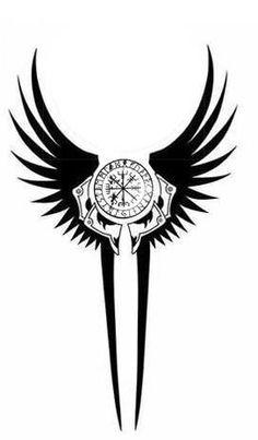 Norse tattoo idea, inspirated by Valkyrie & Vegvisir Symbol Tattoos, Celtic Tattoos, Viking Tattoos, Body Art Tattoos, Sleeve Tattoos, Warrior Tattoos, Wiccan Tattoos, Indian Tattoos, Tatoos