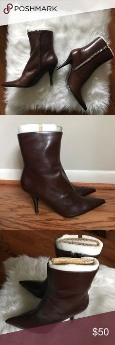 Brown Nine West Ankle Booties NWT Brand new Nine West ankle booties in Brown Leather. 3 inch heel. Nine West Shoes Ankle Boots & Booties