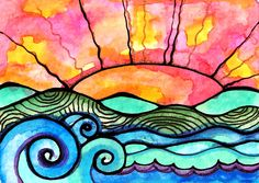 Waves sun ocean beach landscape city sunset seascape landscape surf art print A New Day 5 x 7 art print. $10.00, via Etsy.