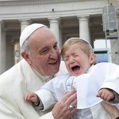 Pope Francis kisses his unimpressed mini-me - IRISH INDEPENDENT #Pope_Francis, #Vatican