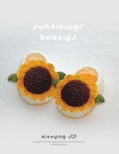 Sunflower Booties Crochet PATTERN, Instant PDF Download by kittying.com