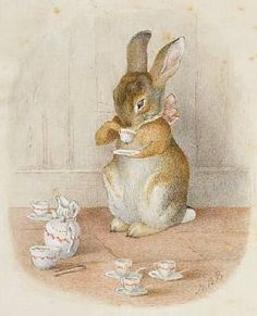 by Beatrix Potter. I adore these precious Beatrix Potter characters! Art And Illustration, Rabbit Illustration, Beatrix Potter Illustrations, Book Illustrations, Beatrice Potter, Vintage Easter, Peter Rabbit, Drinking Tea, Sipping Tea