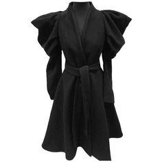 Wool coat ALEXANDER MCQUEEN ❤ liked on Polyvore featuring outerwear, coats, woolen coat, alexander mcqueen, alexander mcqueen coat and wool coat