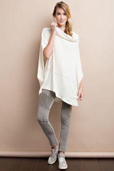 Cowl neck rib sweater