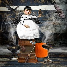 Casting Spells by Mary Bailey.   A Halloween treat created with Flight of Fancy-Halloween kits ~ a collab from Hidden Vintage Studio and Holliewood Studios - available at Deviant Scrap!