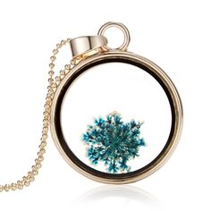 3.99$  Watch here - http://aiotg.worlditems.win/all/product.php?id=J0581G-8 - Fashion New Jewelry Romantic Transparent Crystal Glass Round Floating Locket Dried Flower Plant Specimen Golden Pendant Chain Necklace for Women Girls