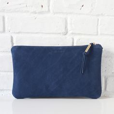 Isi royal blue nubuck leather clutch with brass detail // Shannon South // made in USA
