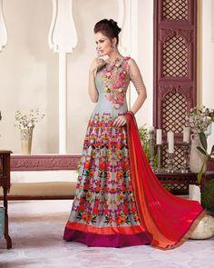 Gray Net Floor Length Anarkali Suit 69941
