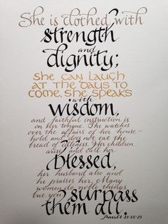 Proverbs 31:25 - 29 From www.etsy.com/shop/Biblecalligraphy ...