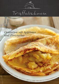 Omeletten mit Apfelmus und Zimtzucker Veg Sandwich, Healthy Sandwich Recipes, Breakfast Sandwich Recipes, Panini Recipes, Healthy Sandwiches, Healthy Food, Crepes, Mille Crepe, Omelet