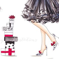 sketch, lovely, pensil, illustration, girl, black, red, gifts, pois, christmas