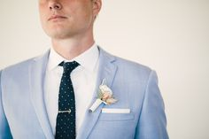 Light blue for a groom - summer wedding style.   Photography: Mi Belle - mibelleinc.com/  Read More: http://www.stylemepretty.com/2015/05/06/stylish-montecito-country-club-wedding/