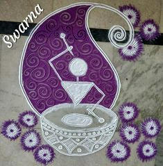How To Draw BEAUTIFUL ROSE FLOWER Rangoli Designs With