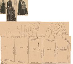 Der Bazar 1886: Dress for matrons from brown plush (with brown taffeta foundation skirt); 37. bodice's insertion part, 38. bodice's over part, 39. front drapery part, 40. right side's side gore, 41. right side's back part, 42. collar in half size, 43. and 44. sleeve parts, 45. cuff in half size, I. left side's side gore, II. left side's back part