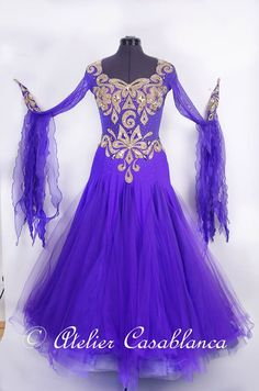 SK-KAF13 世界チャンピオン着用!ロシア製の紫&ゴールドのスタンダードドレス(9号) | Atelier Casablanca -ダンスドレスの部屋- - 楽天ブログ
