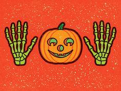 Halloween Pumpkin Surprise/Jazz Hands. © Alexei Vella #editorial #advertising #conceptual #illustration salzmanart.com