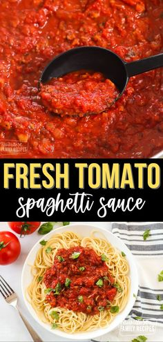 Spaghetti Sauce takes on a fresher, more vibrant flavor when you make it with juicy garden tomatoes. Spaghetti Sauce with Fresh Tomatoes will stay good in the refrigerator for about three to four days. Any longer than that, you may just want to freeze it for later. #freshtomatosauce #tomatosauce #homemadetomatosauce #spaghettisauce #freshtomatoes Fresh Tomato Spaghetti Sauce, Homemade Spaghetti Sauce, Homemade Tomato Sauce, Homemade Soup, Italian Recipes, New Recipes, Family Recipes, Easy Homemade Recipes, Easy Dinner Recipes