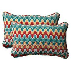 Pillow Perfect Indoor/Outdoor Nivala Corded Rectangular Throw Pillow, Blue, Set of 2