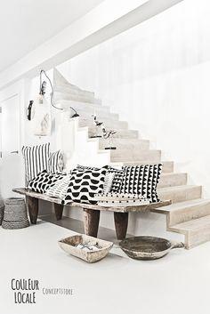Blanc, bois blanchi et accents de noir
