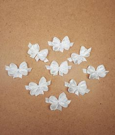 White Satin Ribbon Bows, Small Bow Appliques, White Bridal Party Bows, Small Craft Bows, Scrapbook Bow Embellishments, Baby Shower Bows