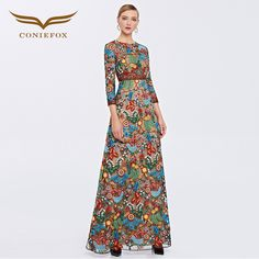 2016 Coniefox Brand New Arrival Embroidery Floral A-Line Evening Prom Long Dresses 31382 - Coniefox