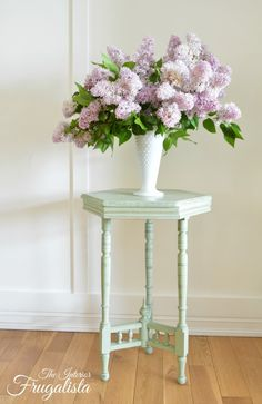 Antique Edwardian Tea Table Makeover chalked painted Sage Green | The Interior Frugalista shared at katherines corner